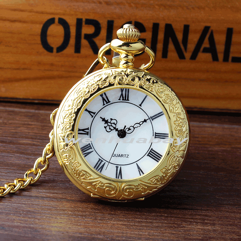 New Arrival Luxury Golden Case White Dial Roman Number Quartz Pocket Watch Pendant FOB Chain Mens Women Gifts P329