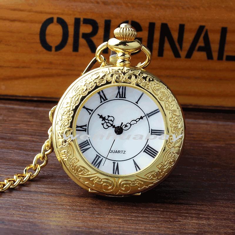 New Arrival Luxury Golden Case White Dial Roman Number Quartz Pocket Watch Pendant FOB Chain Mens Women Gifts P329