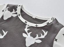 Autumn Baby Rompers Long-sleeved Deer Printed Newborn Toddler Jumpsuit
