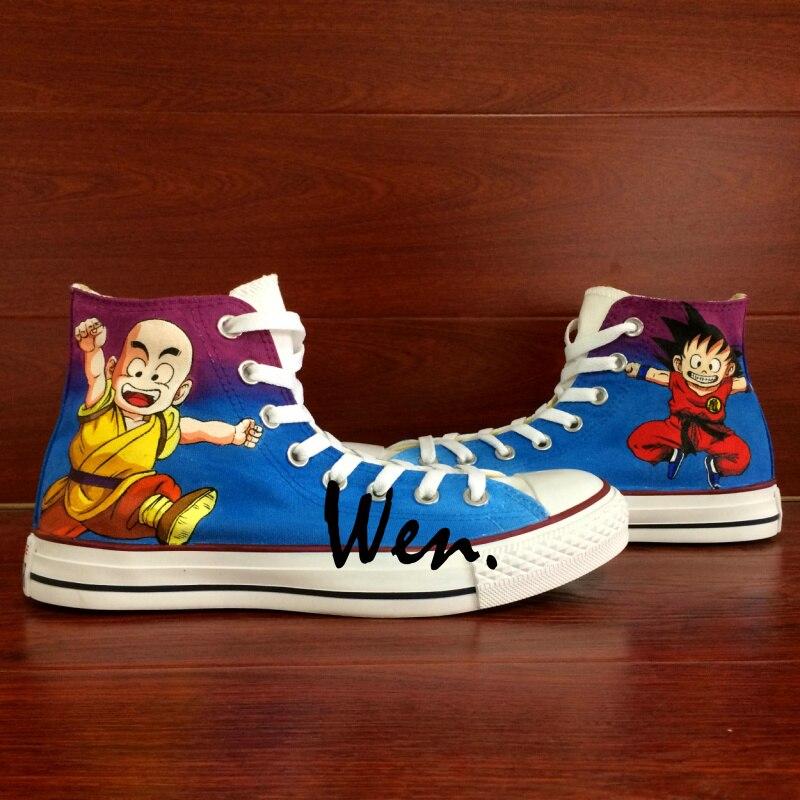 Wen Anime Shoes Hand Painted Design Custom Sneakers Dragon Ball Kid Goku Kid Krillin Men Women's High Top Blue Canvas Sneakers