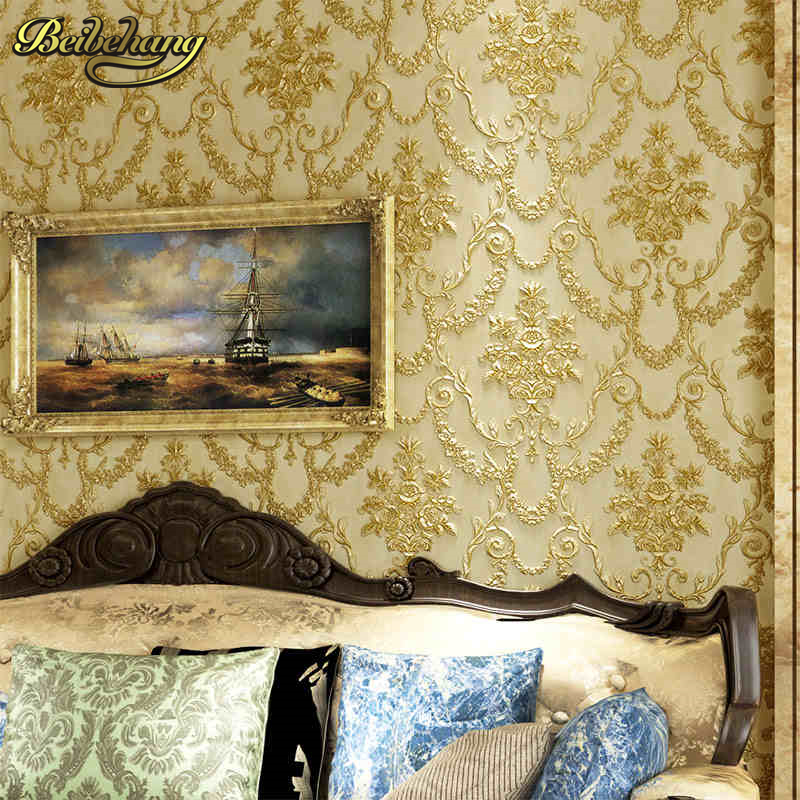 beibehang Carved retro Damask papel de parede 3D Wallpaper For Wall 3 D Classic Embossed TV Room Bedroom Wall paper Home Decor shinehome sunflower bloom retro wallpaper for 3d rooms walls wallpapers for 3 d living room home wall paper murals mural roll