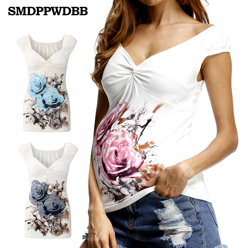 1f6bf7bf87a69 Online Shop SMDPPWDBB Summer White Maternity T Shirt Fashion Maternity Tops  For Pregnant Women Nursing Tops V-Neck Sexy Women Clothes | Aliexpress  Mobile