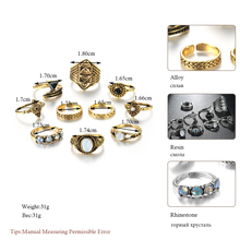 Vintage Knuckle Ring Set for Women Fashion Stone Silver Midi Finger Rings