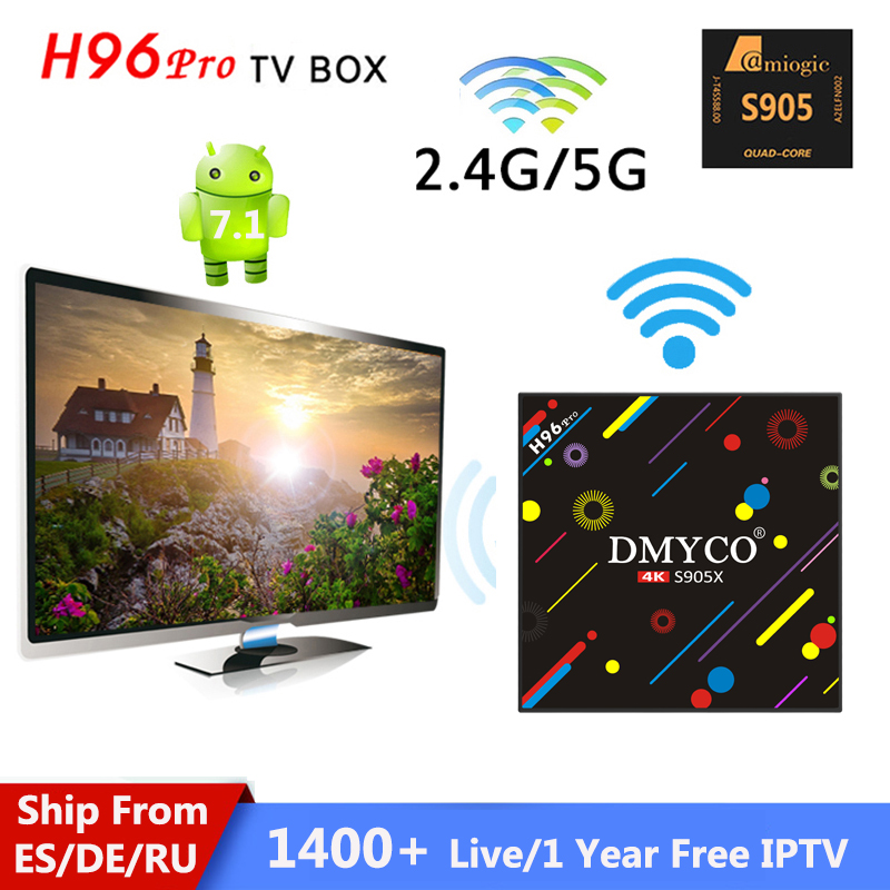 цена на android TV Box H96 Pro Android 7.1 OS +1 Year IPTV Subscription European 1400+ French/Italy/Arabic/UK/Portugal Channel 4K Player