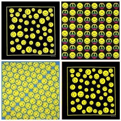 100% Cotton Smiley Series Punk Hip Hop Headwear Kerchief Bandanas Foulard Neckerchief Square Scarf For Women/Men/Boys/Girls