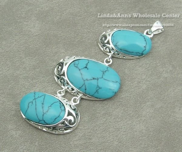 Antique Silver Tone 925 Silver Plated Semi-synthetic Turquoise Pendant Jewelry Necklace Free Shipping TC17