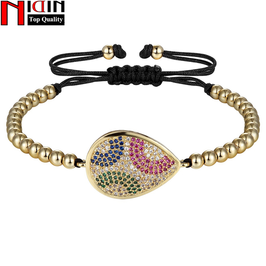 NIDIN Classic Water Drop With 4mm Round Copper Beads Braiding Macrame Adjustable Women Bracelet Adjust Size For Female Jewelry