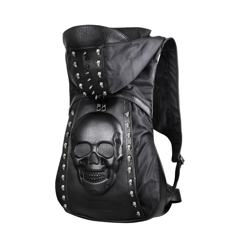 New 2019 Fashion Personality 3D Skull Leather Backpack Rivets Skull Backpack With Hood Cap Apparel Bag Cross Bags Hiphop Man