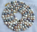 "stunning long 36"" 8mm white pink gray baroque freshwater pearl necklace"