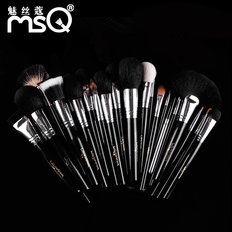 25pcs Makeup Brushes Set Pro Soft Animal Synthetic Hair Cosmetic Tools Kit Blush Foundation Eyeshadow Make Up Brush Leather Case