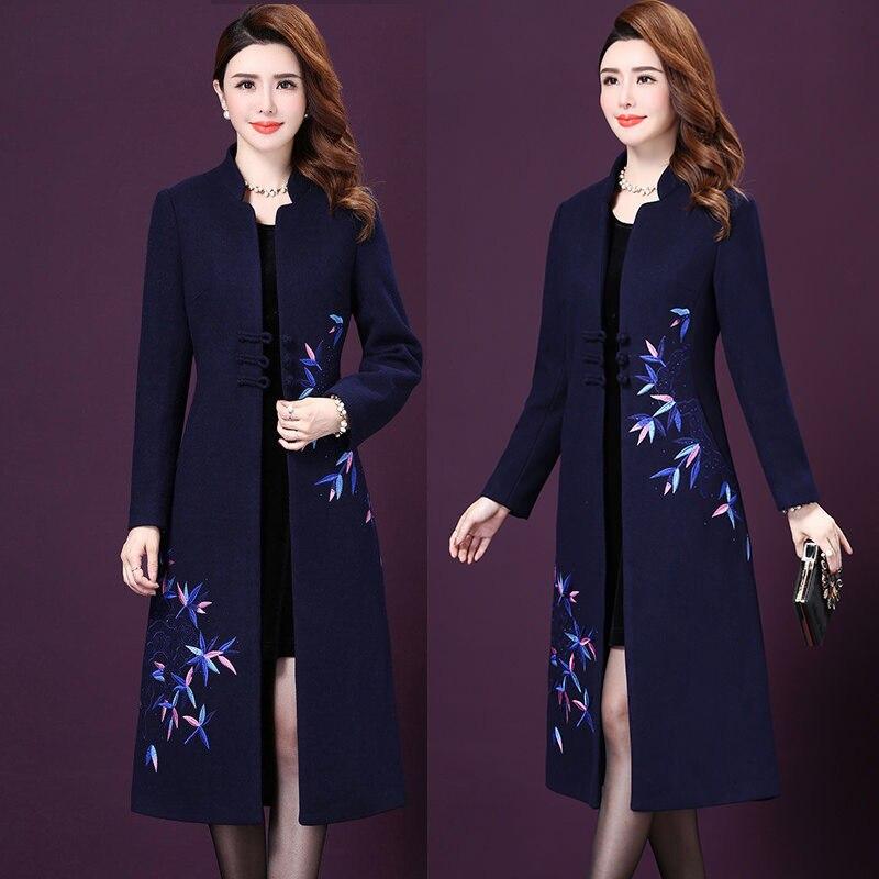 Winter Fall Fashion Women Mandarin Collar Blue Black Long Woolen Coat , Female Womens Embroidery Diamonds 4xl 5xl Coats Overcoat