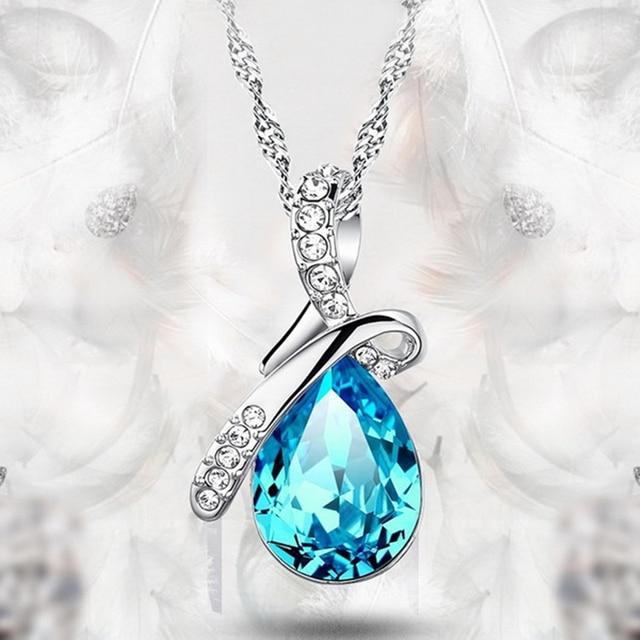 FANALA Women Crystal Rhinestone Pendant Silver Chain Necklace Love Teardrop Eleg