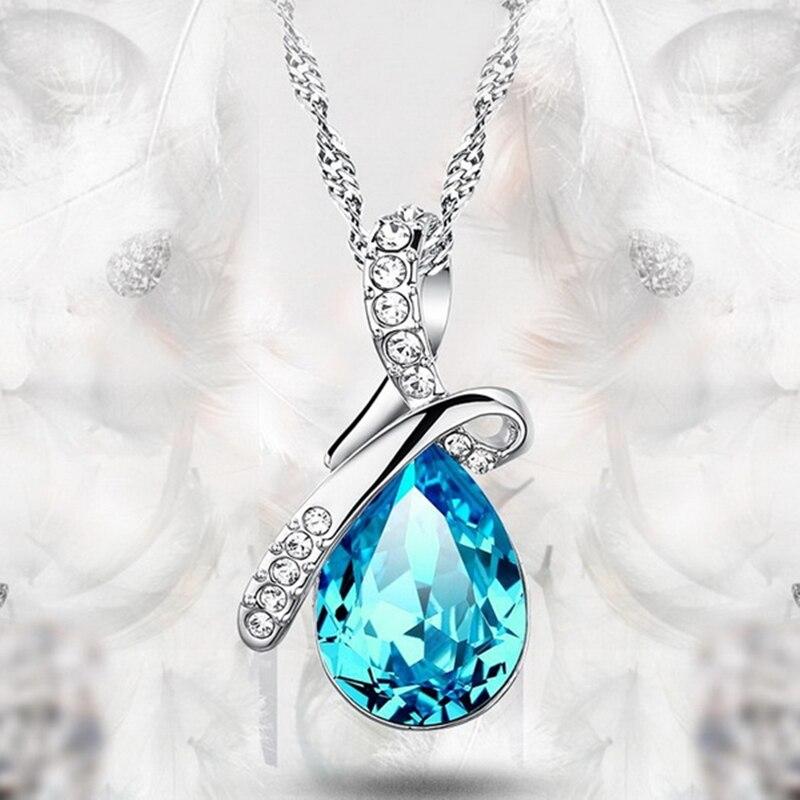 FANALA для женщин со стразами кулон серебряная цепочка цепочки и Ожерелья Любовь Teardrop Элегантные украшения вечерние подарок свадьбу