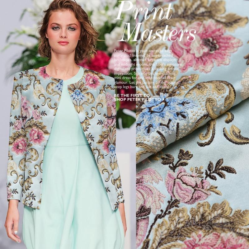 2016 új őszi és téli a francia nagy import jacquard gobelin szatén szövet kabát öltöny fényes ruhával szövetu au meter divat