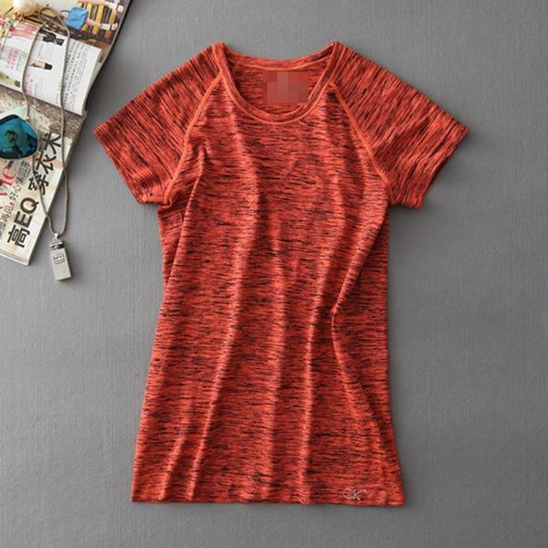 MAIJION Супер быстросохнущая женская футболка с короткими рукавами для тренажерного зала, фитнеса и йоги - Цвет: Оранжевый