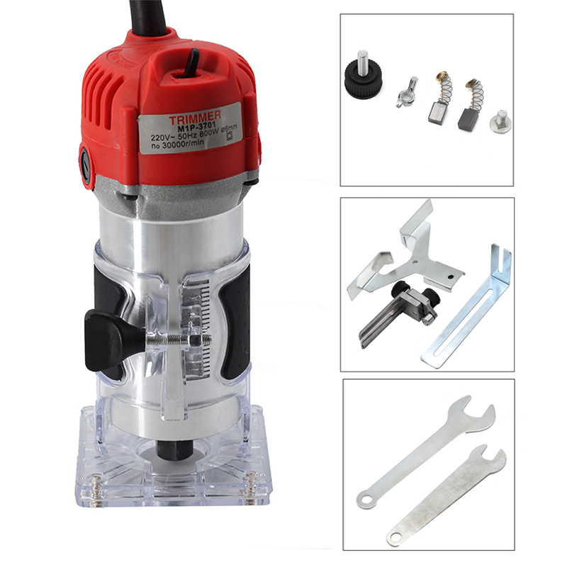 220V 800W 30000rp Woodworking Electric Trimmer Wood Milling Engraving Slotting Trimming Machine Hand Carving Wood Router