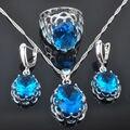 Clásico Azul Piedra Zirconia mujeres 925 Sistemas de La Joyería de Plata Pendientes/Colgante/Collar/Anillos Envío Libre QZ006