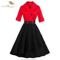 SISHION Thanh Lịch Chắp Vá Đảng Dress Phụ Nữ Mùa Thu Màu Đen và Đỏ Cộng Với Kích Thước 50 s 60 s Pin up Vintage Rockabilly ăn mặc VD0592