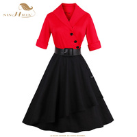 SISHION Elegant Patchwork Party Dress Women Autumn Black And Red Plus Size 50s 60s Pin Up