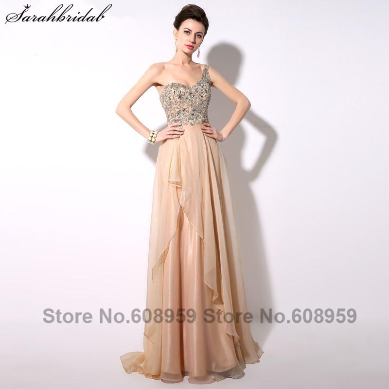 Elegante Champagner Kristall A-Linie Chiffon Frauen Prom Kleider Eine Schulter bodenlangen Partykleid Echt Bild YAD004