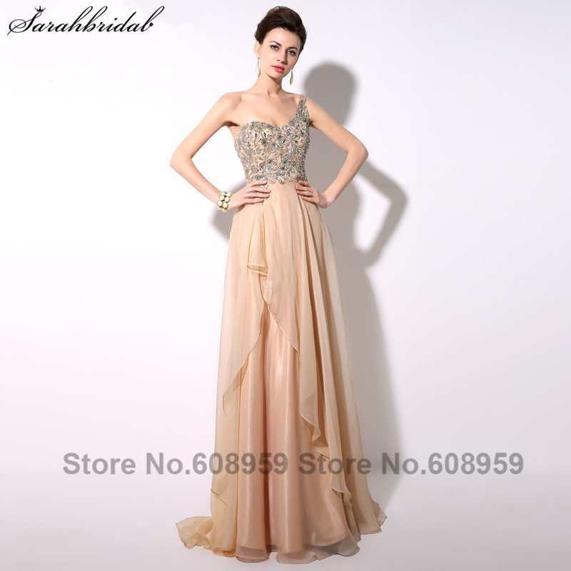 Elegant Champagne Crystal A-line Chiffon Women Prom Dresses  One shoulder Floor Length Party Gown Real Picture YAD004