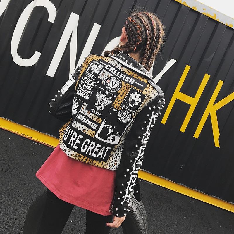Streetwear Fashion Womens Rivet Leopard Leopard Print Faux   Leather   Jacket 2019 New Arrival Punk Rock Short Zipper Biker Jacket