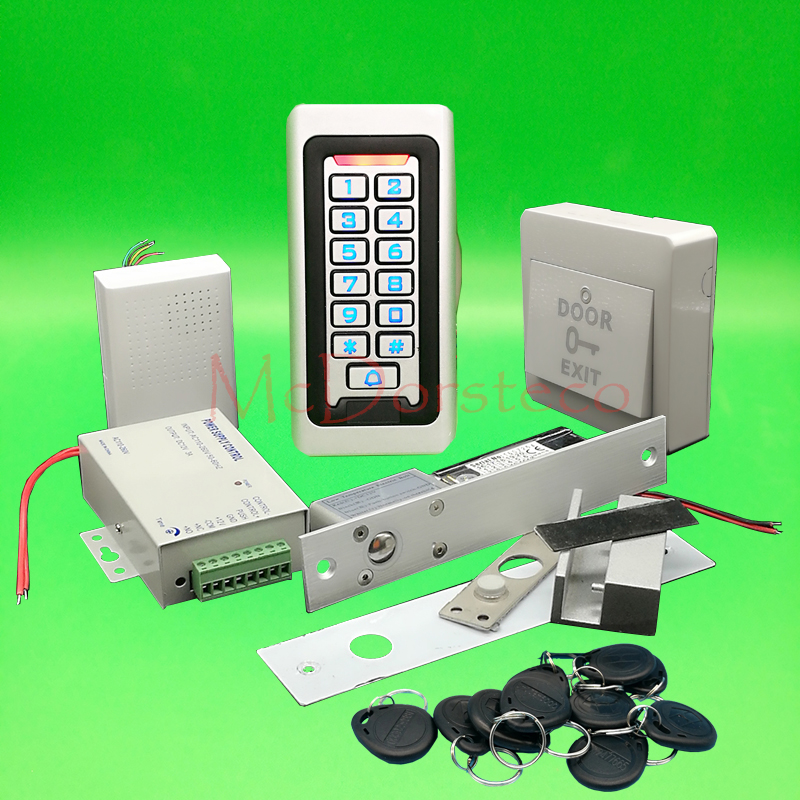 Metal IP68 Waterproof Full 125khz Rfid Glass Door Access control system Kit Electric Bolt lock Kit +Power supply+exit button metal rfid em card reader ip68 waterproof metal standalone door lock access control system with keypad 2000 card users capacity