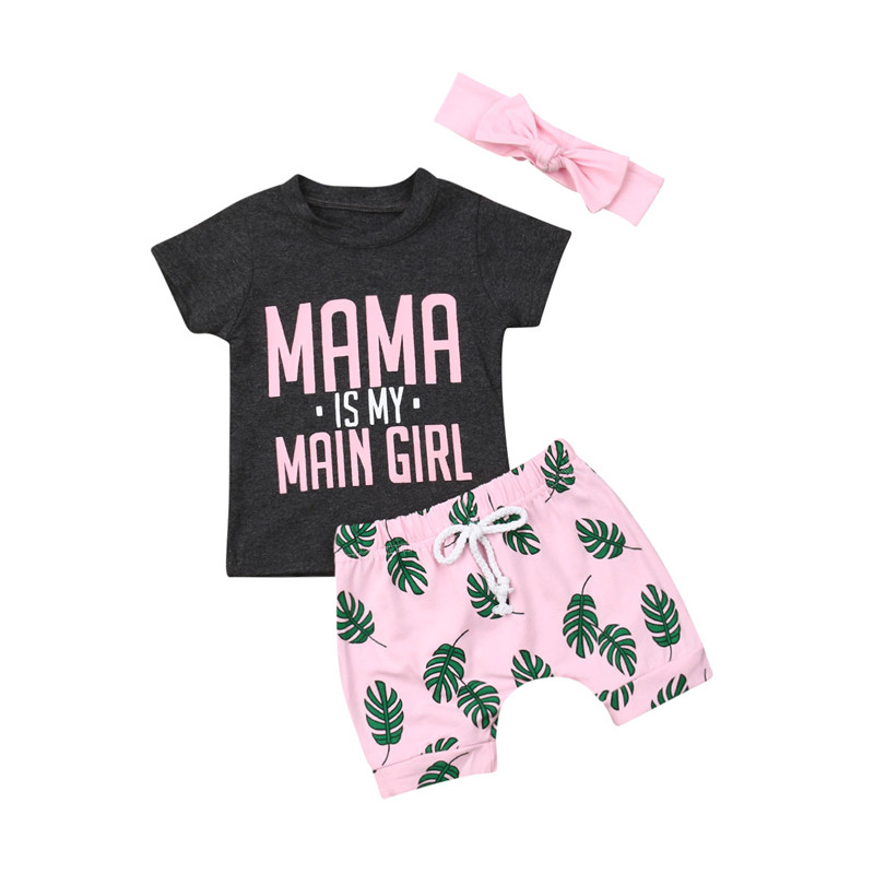 a6abf70ef413a Casual Summer Kids Baby Girl Outfits Cotton Clothes 3Pcs Letter Short Sleeve  T-shirt+Leaves Print Shorts+Bow Headwear Sets 6M-4Y