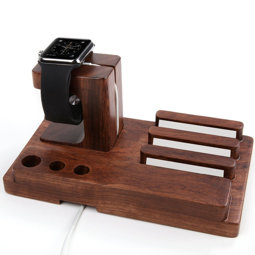 FULAIKATE Bamboo Wood Holder for iPhone6s Plus Bracket Desk Stand for Apple Watch Tablet PC Samrt Phone Rosewood Docking Station in Phone Holders Stands from Cellphones Telecommunications