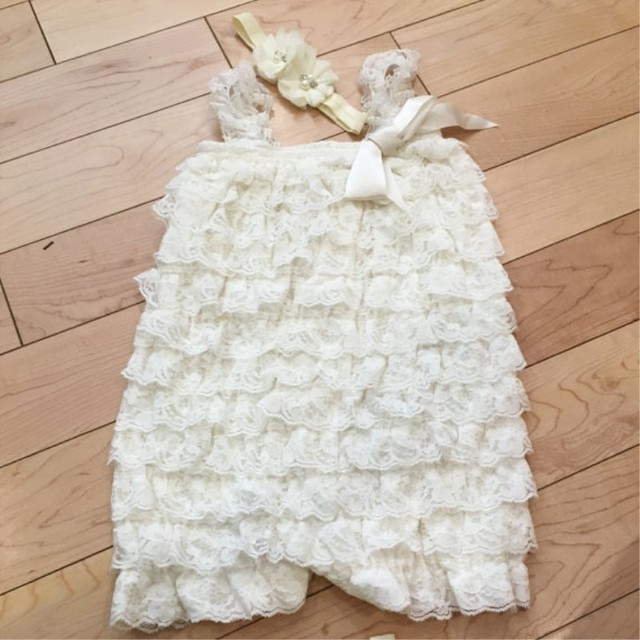 119664aa3493 Vintage Ivory Lace Romper Baby Lace Romper Petti Romper for infant   Toddler  Girls ( 2 pcs   lot )