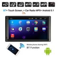 2 Din Android 5,1 автомобильный Радио плеер с дюймов gps навигацией 7 дюймов HD сенсорный экран мультимедийный автомобильный развлекательный с BT wifi AM/