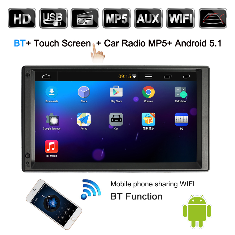 2 Din Android 5.1 Car Radio Player with GPS Navigation 7 inch HD Touch Screen Multimedia Car Entertainment with BT WIFI AM/FM 7 hd 1024x600 capacitive screen android 4 2 car dvd player gps navigation system for ford focus