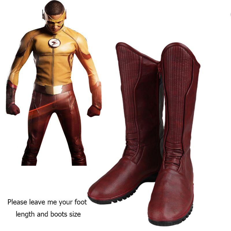 The Flash Cosplay Boots Superhero Kid Flash Wally West Cosplay Shoes Kid  Flash Boots Custom Made Adult Men Cosplay Accessories 46ebf991c