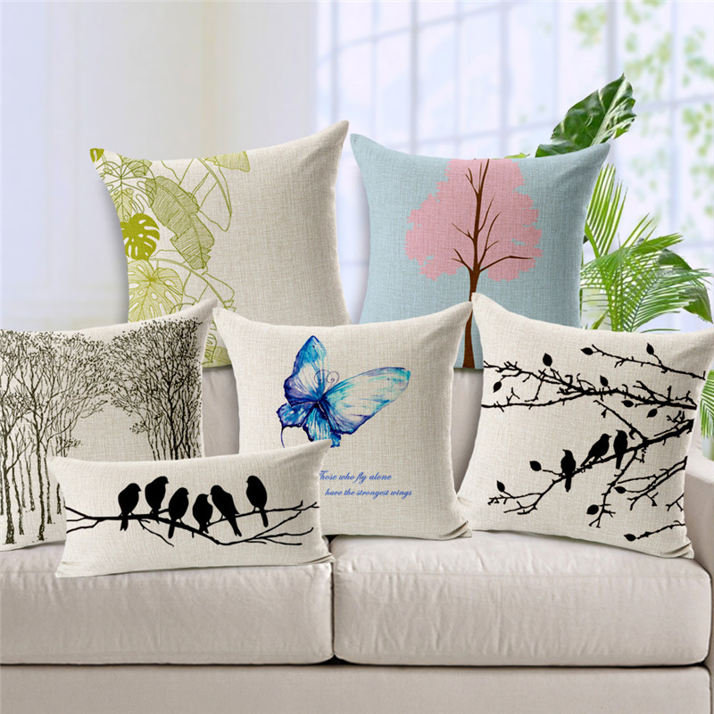 Popular European Cushion Covers Beautiful Forest Throw Pillow Cases Home Sofa Decorative Tree Birds Printed Lumbar Pillow Cover image