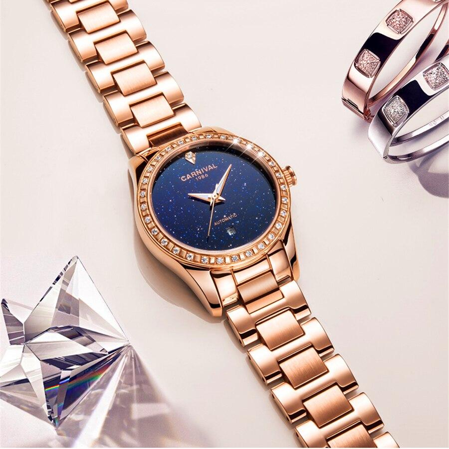 Marca de Luxo Relógio de Ouro Pulseira de Aço m à Prova Relógio Mecânico Automático Mulheres Assistir 30 d' Água Senhoras Strass Vestido Relógios