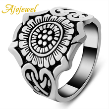 Ajojewel Unique Designer 18K White Gold Flower Ring Man Trendy Mens Jewelry New Arrival