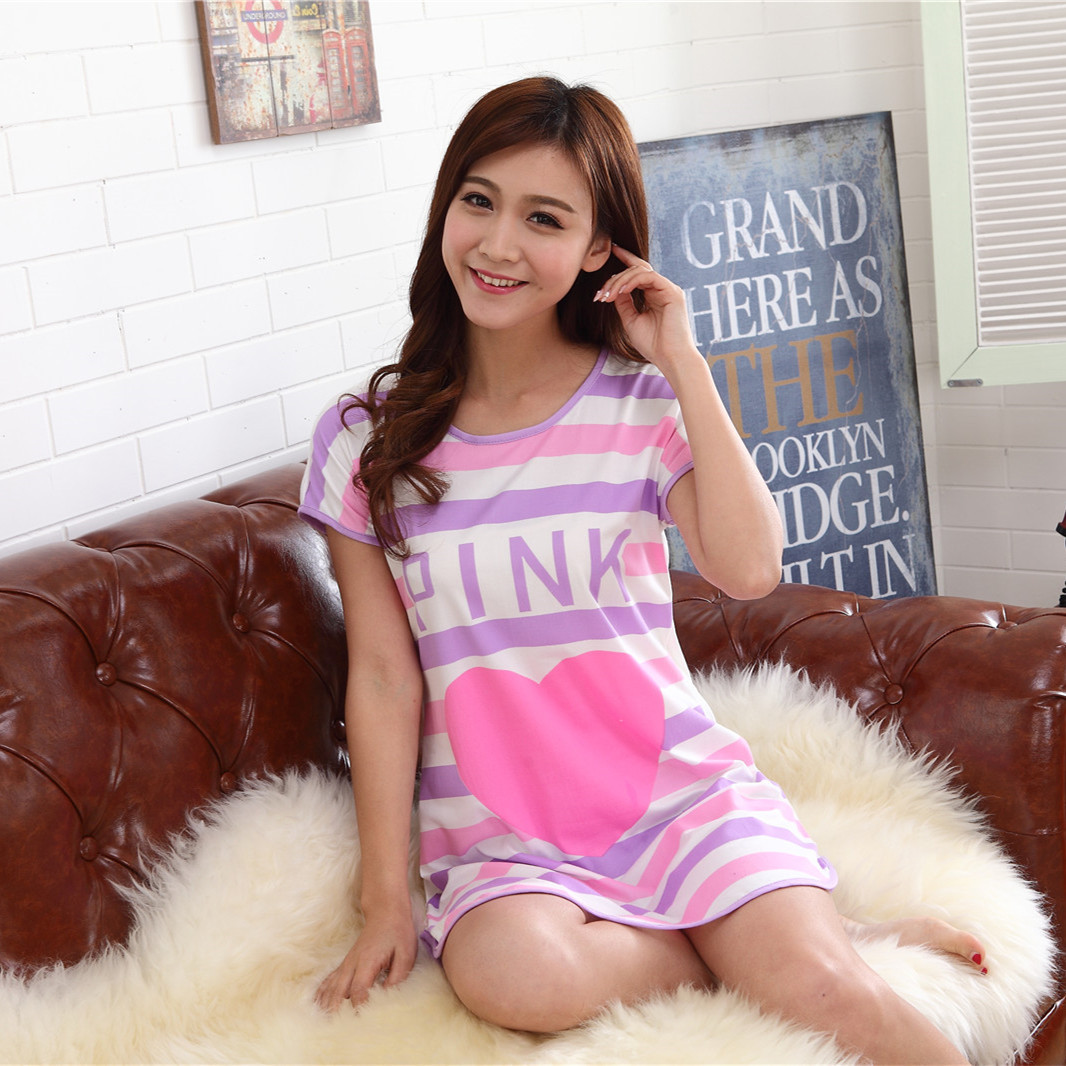 New 2019 Cartoon Women   Nightgowns     Sleepshirts   Plus Size Lounge Women's Sleepwear Summer Cool Short Sleeve Dress Loose Sleepshirt