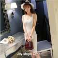yomrzl L740 new arrival spring and summer cotton women's dresses knit dress V-NECK one piece slim hip dress