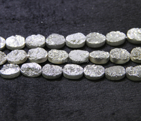 Beads Jewelry Gray Titanium Druzy Teardrop Beads Pendants Drusy Stone Quartz Flat Round Beads Jewelry Making