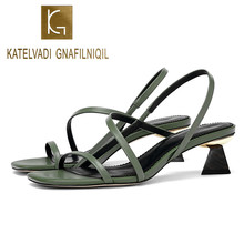 KATELVADI Women Sandals Open Toe Summer Shoes With 4CM High Heels Green PU Gladiator Spike Heel Woman K-370
