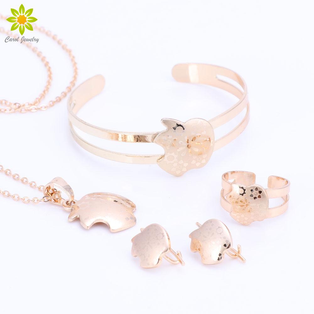 Heart Blue Crystals Pendant Necklace Stud Earrings Ring Gold Color Kn70890 Kalung Choker Bunga Bayi Perempuan Set Perhiasan Anak Hadiah Emas Warna Liontin Anting Gelang Cincin