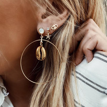 Fashion ZA Big Circle Shell Dangle Earrings Set For Women Sea Shell Drop Earrings Round Ear Stud Gold Summer Beach Jewelry 2019(China)