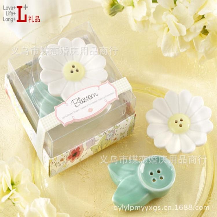 꽃 꽃 세라믹 소금 후추 셰이커 120SET / LOT 결혼식 bridemate 호의 및 선물 무료 배송