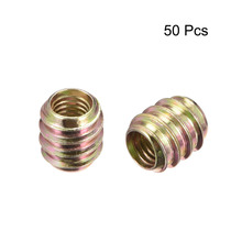 Uxcell 50pcs/lot Furniture Hardwere Fasteners Parts M6 Threaded Insert Nut 10mm 12mm Length Carbon Steel Zinc Plated