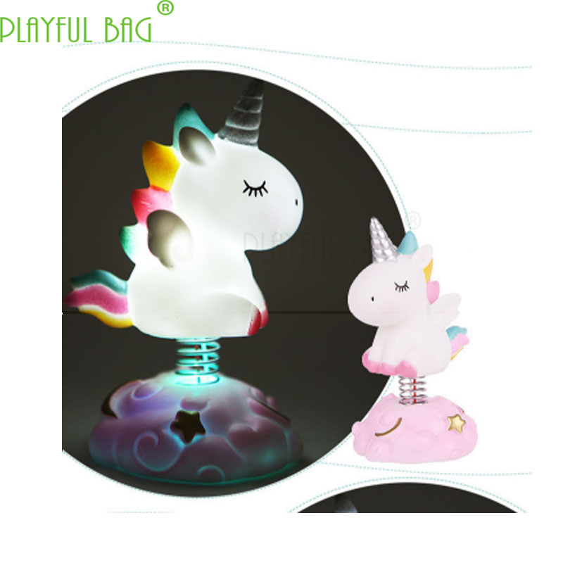 Unicorn Baking Cake Living Room Car Etc Decorative Ornaments Shaking Head Doll Cake Accessories Glowing Gift For A Child VI01