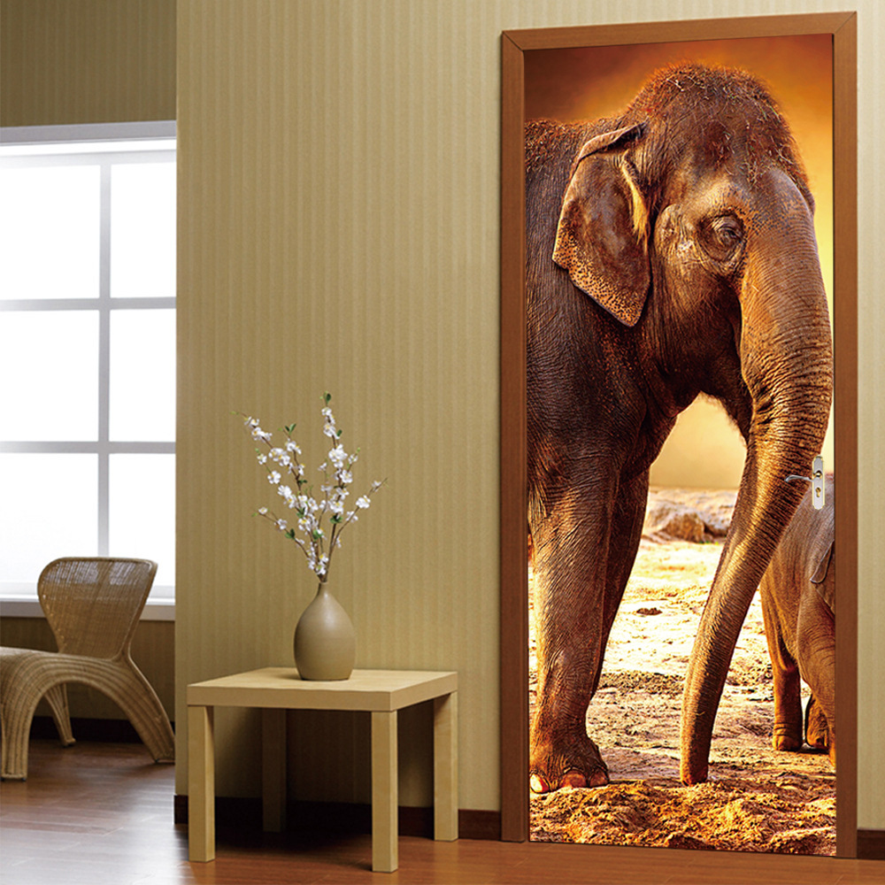 online shop 3d door stickers castle elephant stickers living room