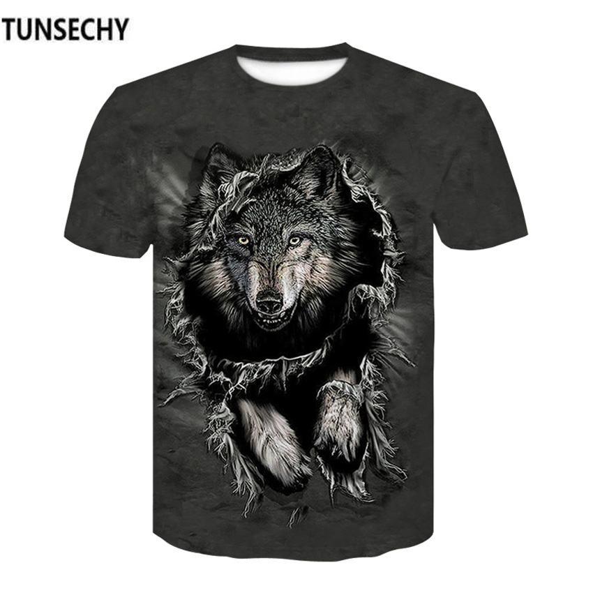 TUNSECHY Wolf Warrior by 3D Men T-shirts New Design Short Sleeve Summer Animal Round collar T-shirts S-4XL Free transportation