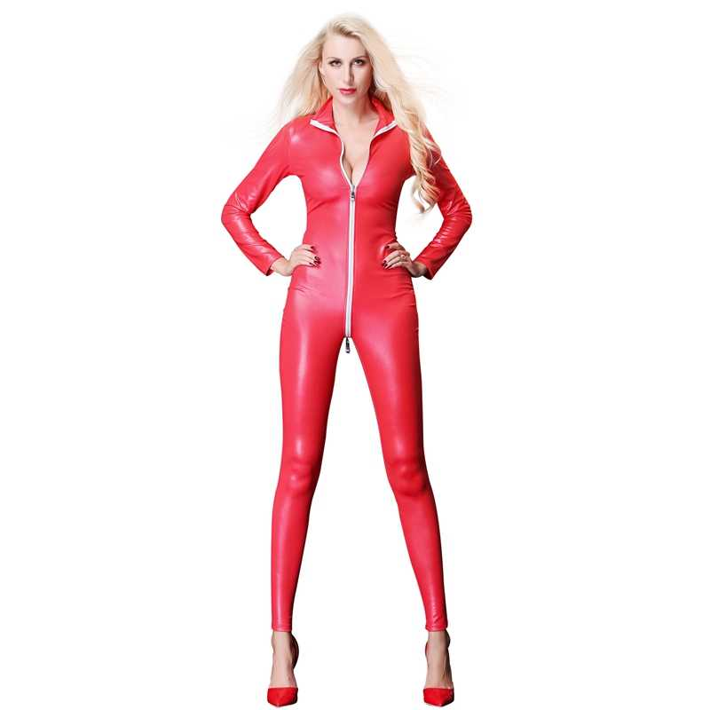 35f1da956 ... Patent Leather Zipper Open Crotch Catsuit Jumpsuit Erotic Costumes Sexy  Bodysuit Party Clubwear Fetish PVC Pole ...