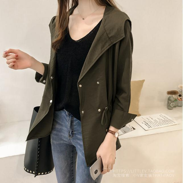 2018 Women's Loose Hoodie   Trench   Coat Medium Casual Long Sleeve Coat