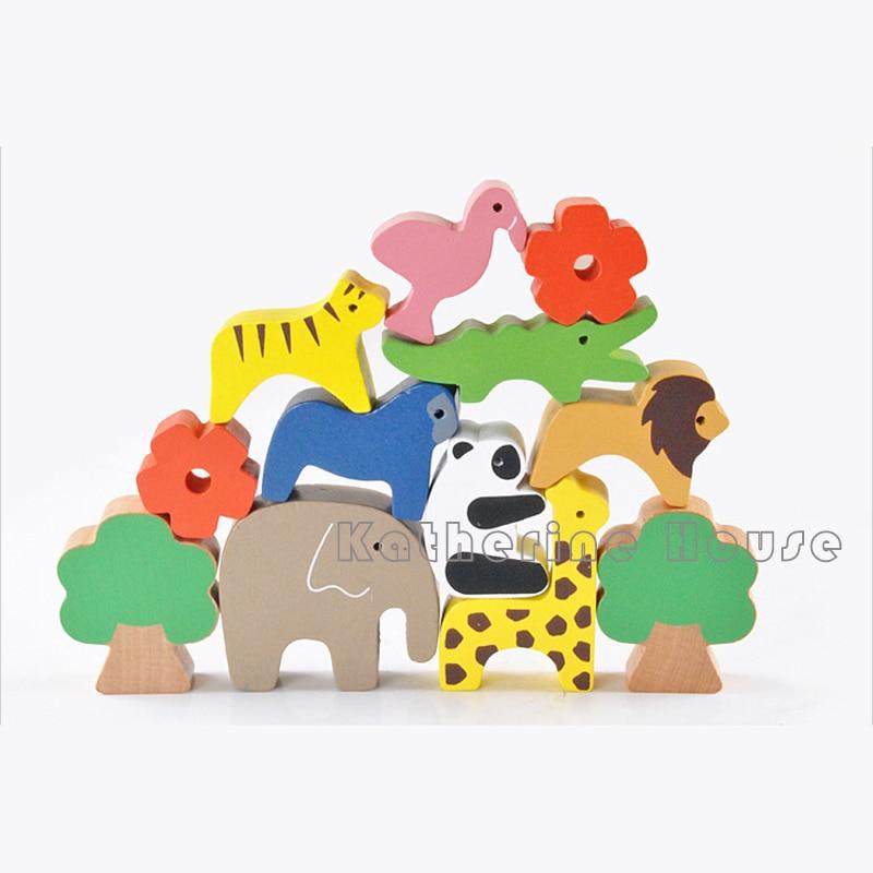 13st Montessori Baby Träbyggnad Djurbalans Byggstenar Färg Creative - Byggklossar och byggleksaker - Foto 4
